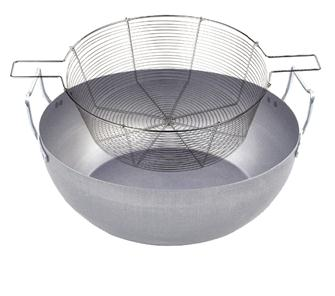 Steel fry pan 36 cm with tin-plated steel basket