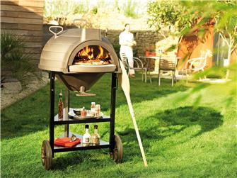 Multifunction cast iron wood-fired oven breads pizzas grilled paella on cart