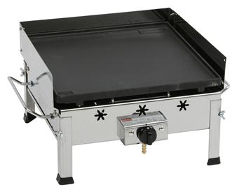 Stainless steel and cast iron gas plancha with burner