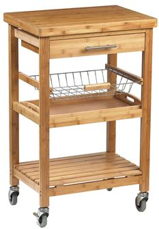 Bamboo kitchen trolley 58x40 cm with a tray
