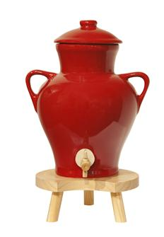 Red stoneware vinegar maker - 2.5 litres