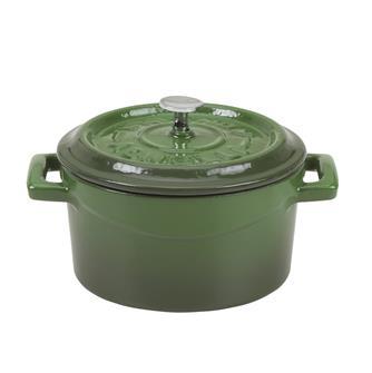 Small green 14 cm casserole dish in cast iron