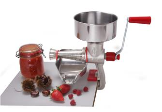Manual tomato and fruit press / strainer in cast iron and stainless steel.