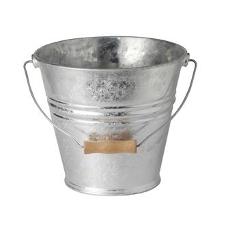 Galvanised 10 litre bucket with a wooden handle