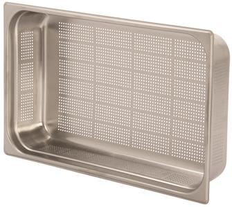 Stainless steel perforated gastronorm container 1/1. Height: 10 cm EN-631 standard.