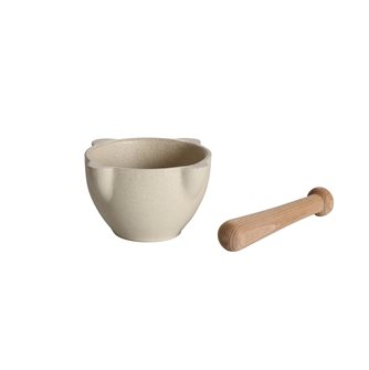 Stoneware mortar and wooden pestle