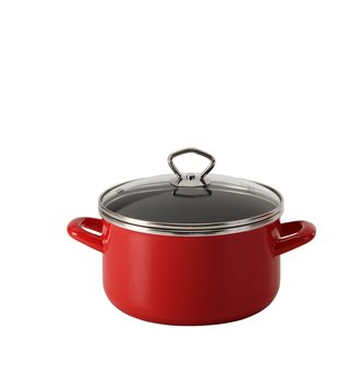 Red enamelled 20 cm stew pot with a lid