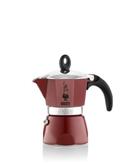 Red aluminium Italian coffee maker - 3 cups