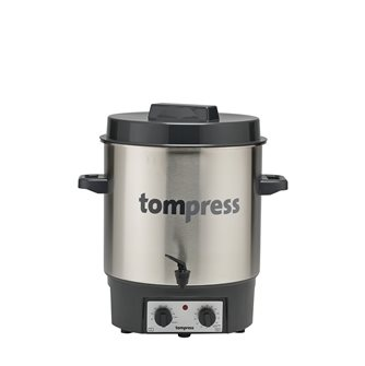 Stainless steel Tom Press electric steriliser with a tap and timer
