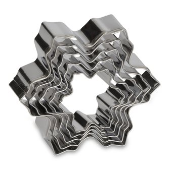 Set of 5 stainless steel snowflake cookie cutters