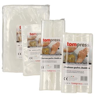 Lot of 200 bags and 4 embossed vacuum food rolls Tom Press