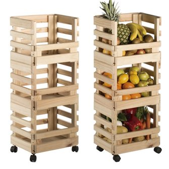 Vegetable trolley 3 stackable pine crates