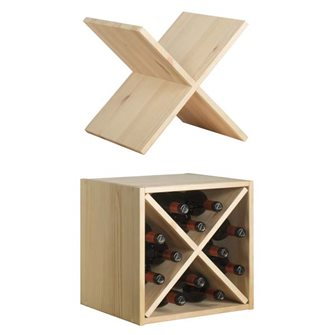 Solid pine wood locker with cross for 12 bottles of wine