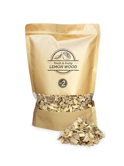 Pack of fine chips of lemon tree for smoker and barbecue