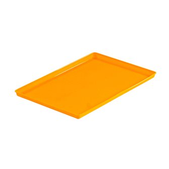 Orange silicone tray for fruit leather in dehydrator
