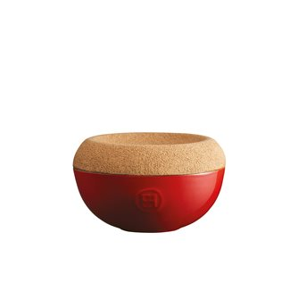 Red ceramic salt pot Grand Cru Emile Henry cork lid
