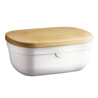 Boîte à pain blanc Craie Emile Henry avec planche en bois