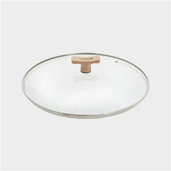 Couvercle en verre 32 cm avec bord inox et poignée bois