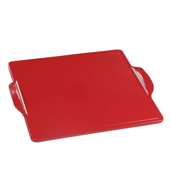 Oven plate and barbecue in square ceramic 35 cm red Grand Cru Emile Henry EXCLU