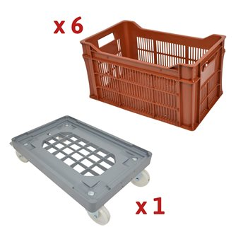 Set of 30 liters corrugated cases with handles and multi-tray trolley