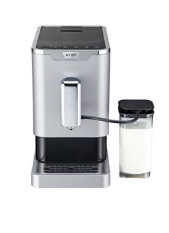 Espresso coffee machine grain grinder with integrated milk pitcher