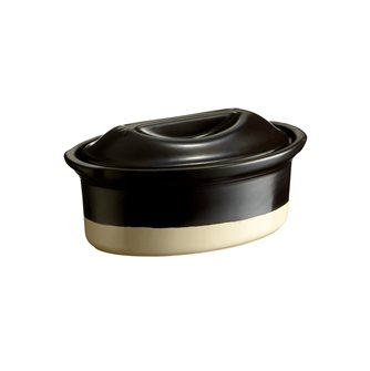 Terrine ovale 23 cm 1,1 litre Emile Henry Grand Classic ceramic bicolor black and white