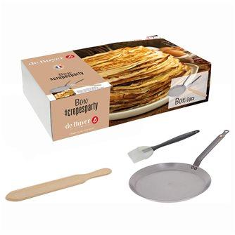 Box Crêpes Party: De Buyer steel pancake pan 26 cm silicone brush and 36 cm pancake spatula in beech