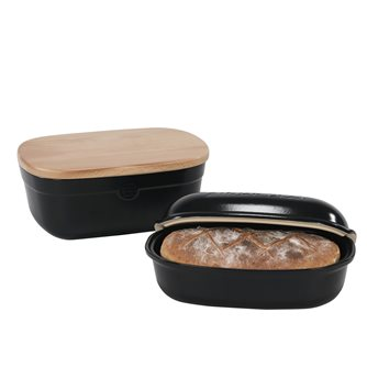 Set for loaf of bread and storage box in black ceramic with truffle Emile Henry - Exclusive