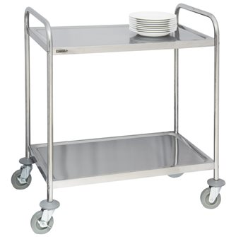 Stainless steel trolley with 2 trays