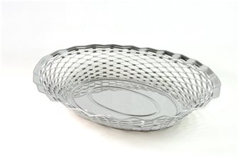 Large oval stainless steel bread basket